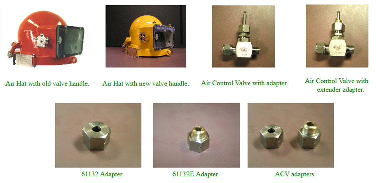 Air Hat Air Control Stem Adapters - old versus new valve handles and adapers
