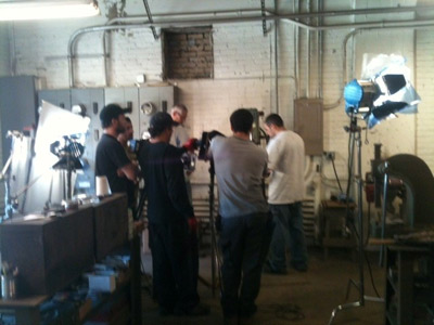 Filming the making of Mark V Helmet at DESCO