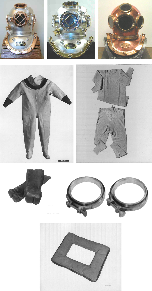 deep SeaDiver helmet, long underwear, dive suit, rubber gloves. clamps and padding