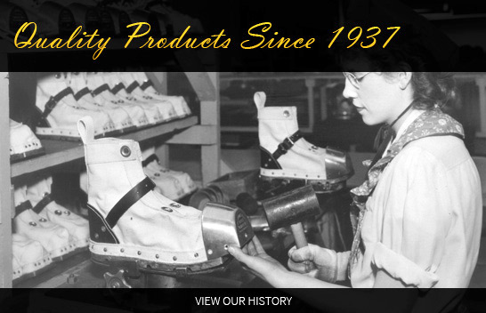 Quality products since 1937 worker adding steel toe on dive boot